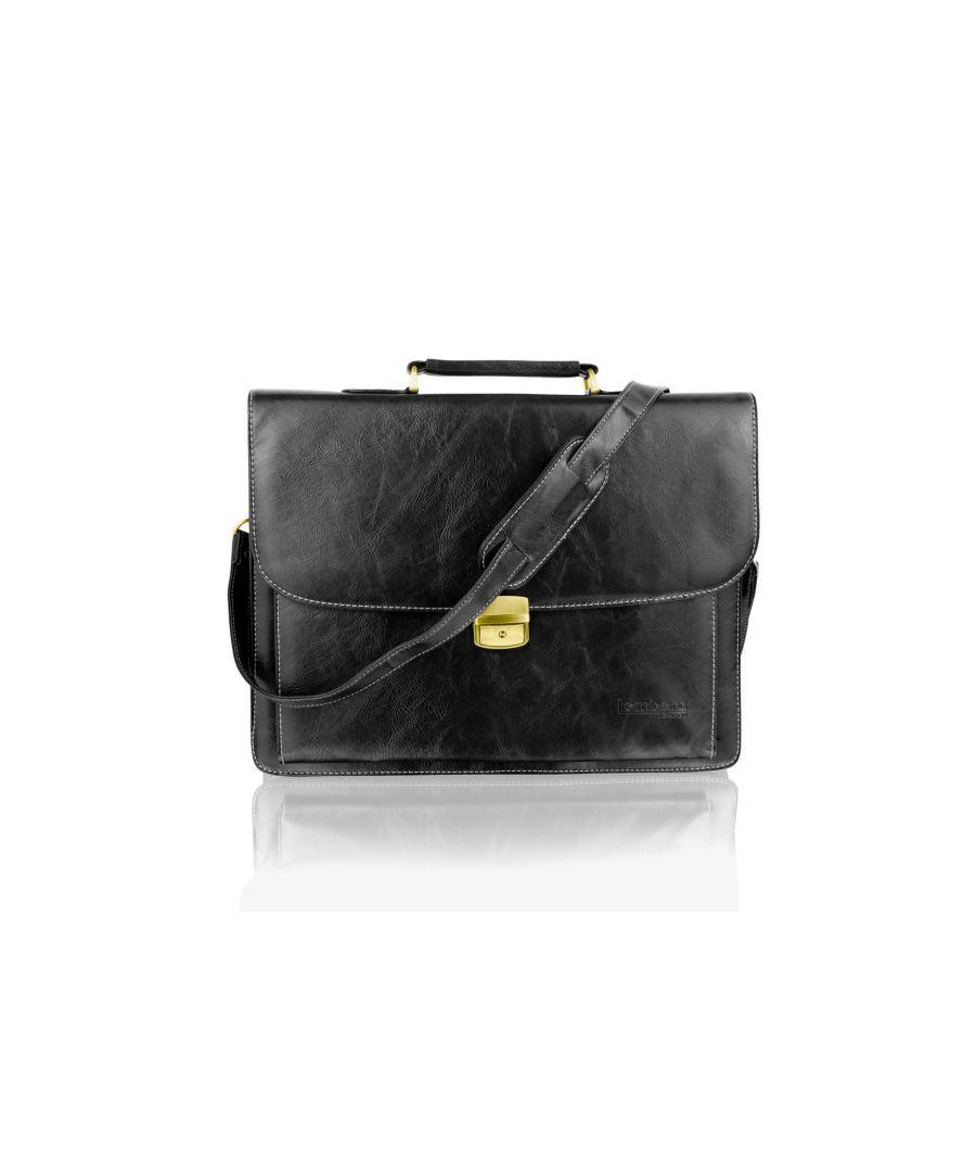 Image for Woodland Leather Black Satchel Briefcase Landscape, Laptop Compartment, Flap Over 15.0