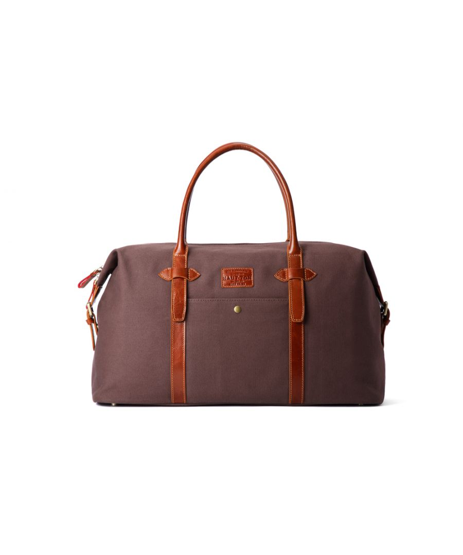 Image for Hautton Leather Brown Canvass And Tan Leather Mix Holdall 19.0