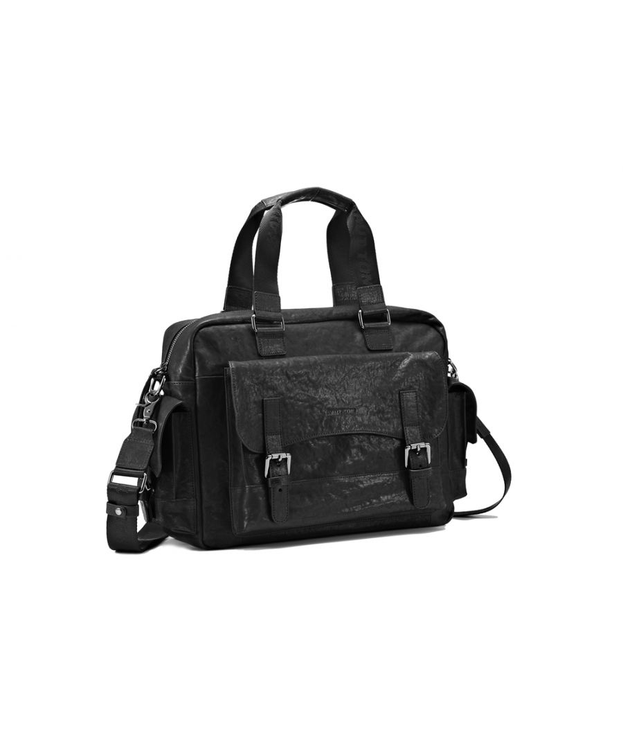 Image for Hautton Leather Black Medium Holdall 18.0
