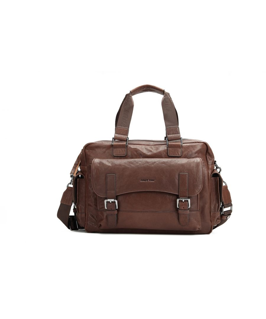 Image for Hautton Leather Brown Medium Holdall 18.0