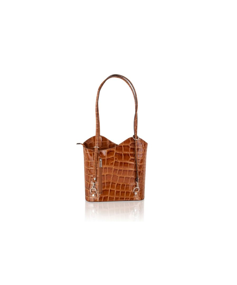 Image for Woodland Leather Tan Shopping Bag Croc Style Leather 12.0
