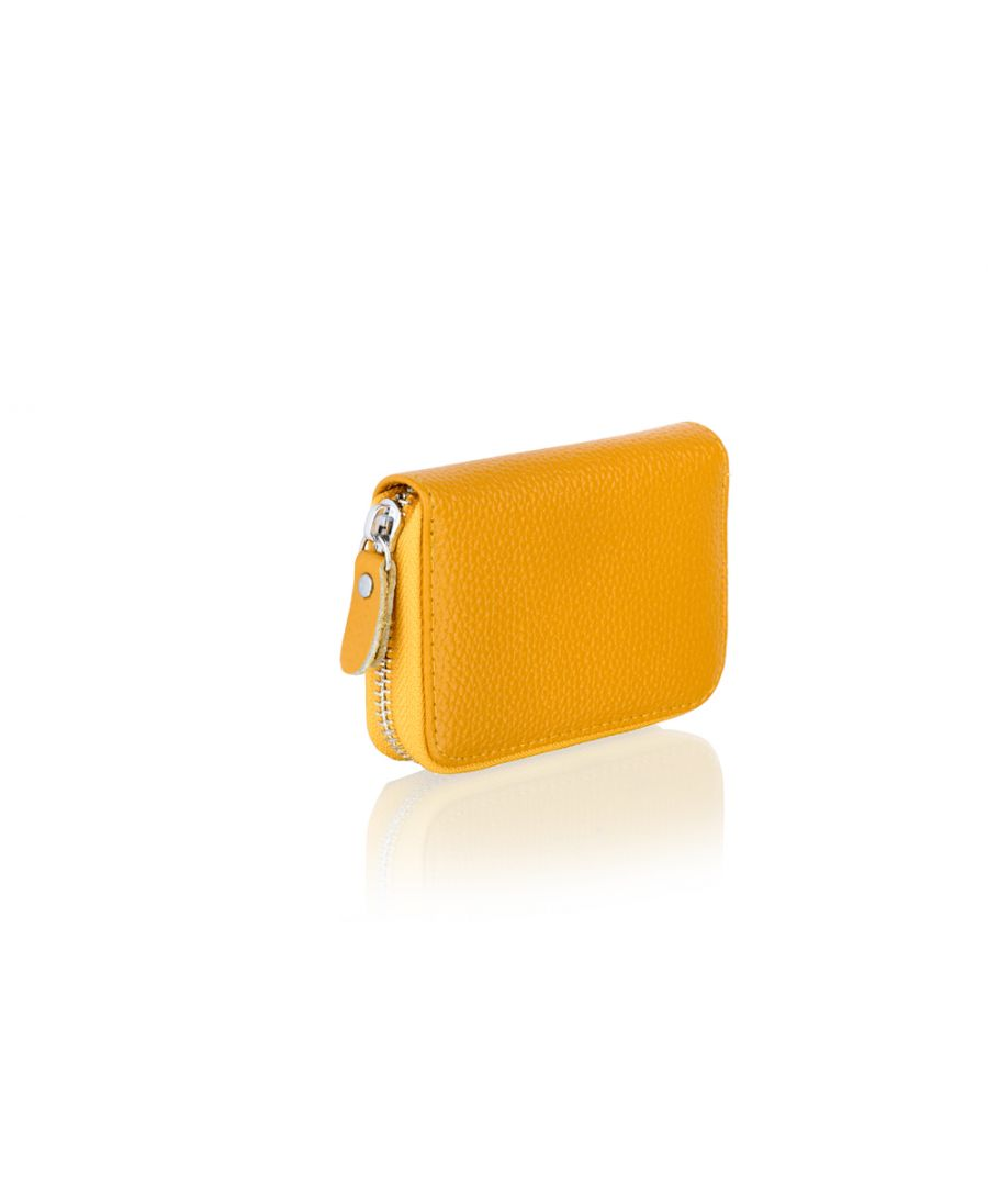 Image for Woodland Leather Yellow Card Holder Zip Purse 4.0