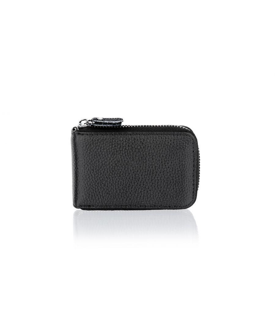 Image for Woodland Leather BLACK Card Holder Zip Purse 4.0