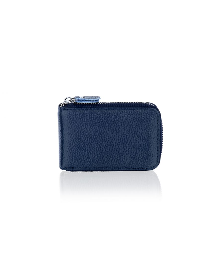 Image for Woodland Leather Blue Card Holder Zip Purse 4.0