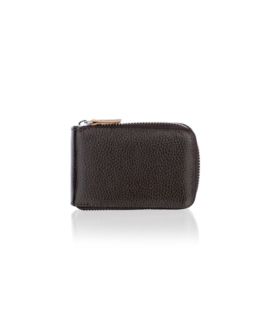 Image for Woodland Leather Coffee Card Holder Zip Purse 4.0