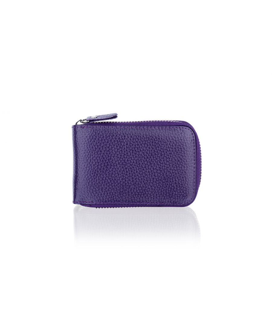 Image for Woodland Leather Purple Card Holder Zip Purse 4.0
