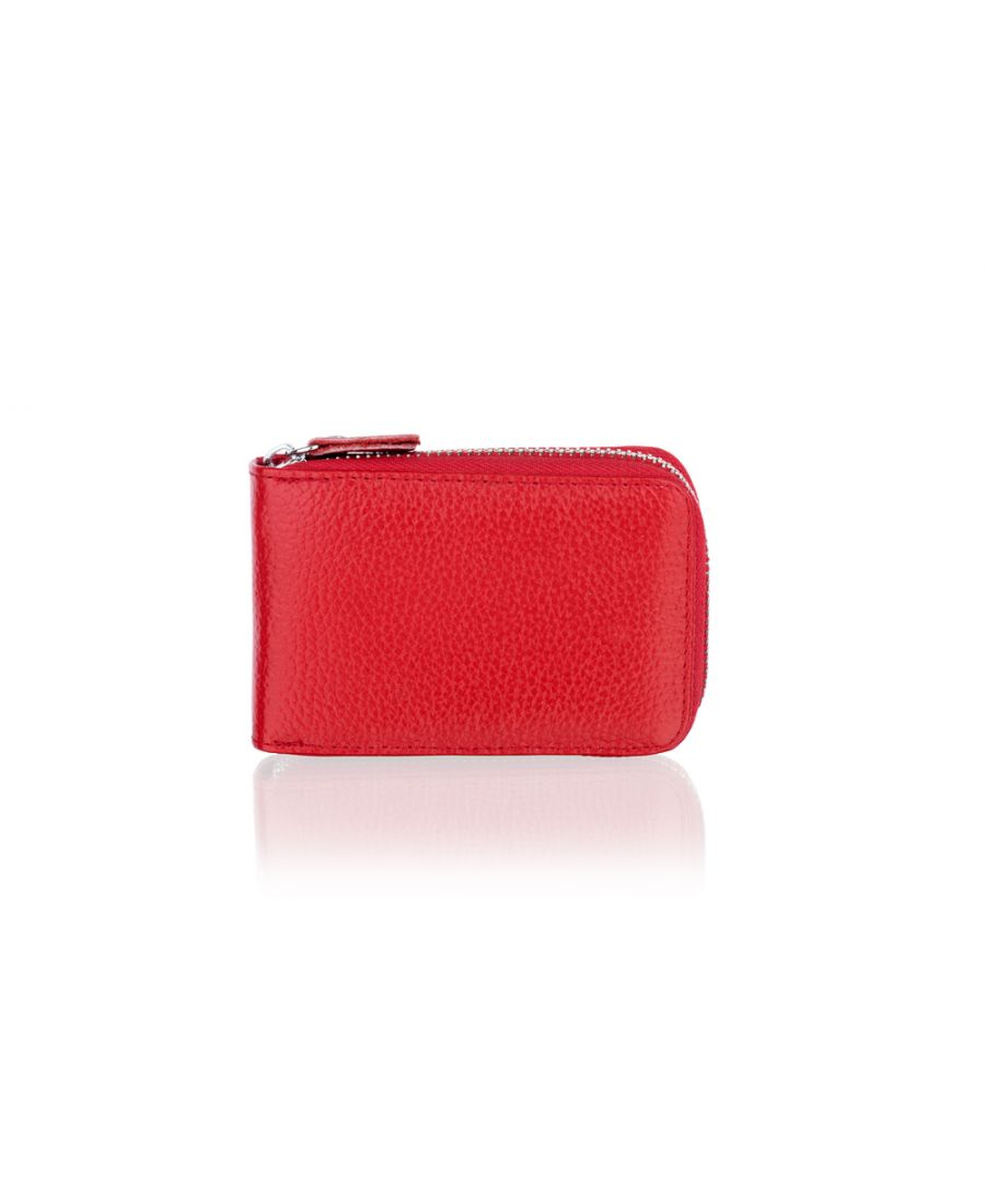 Image for Woodland Leather Red Card Holder Zip Purse 4.0