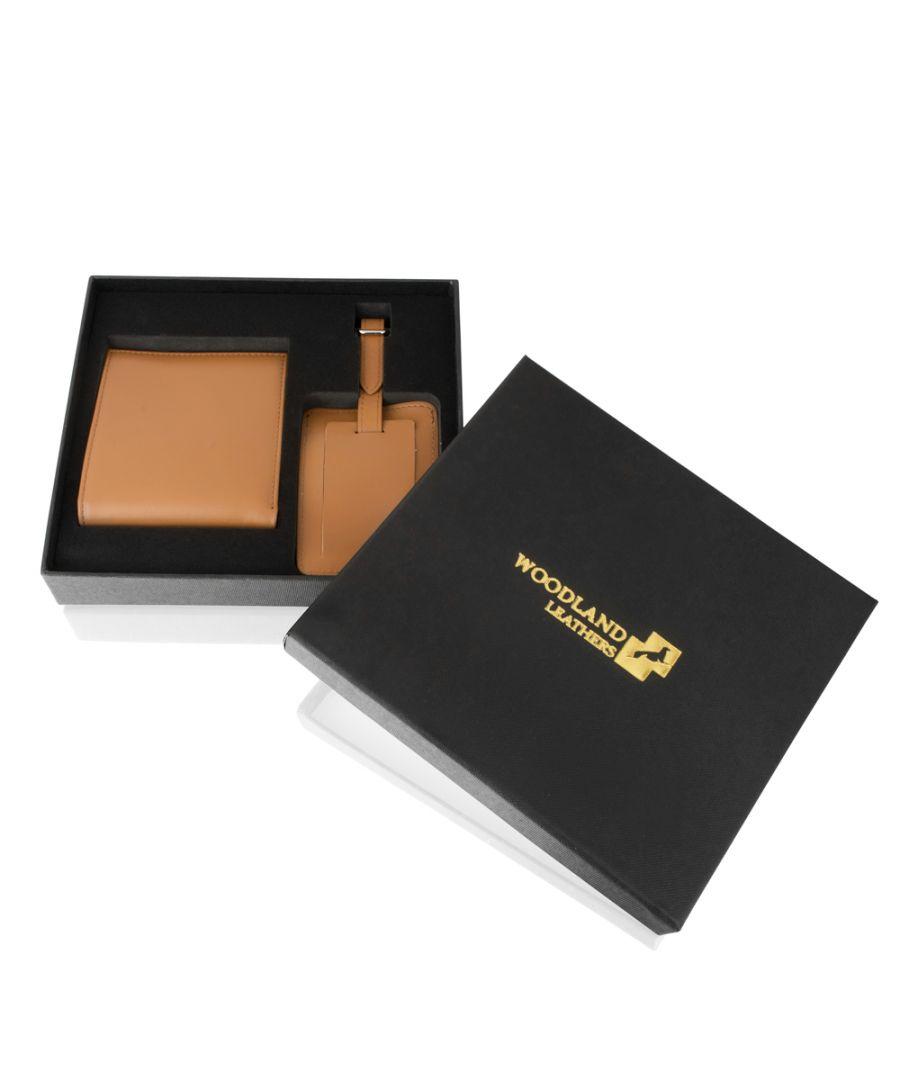 Image for Woodland Leather Luxury Tan Luggage Set Including Leather Wallet & Leather Luggage Tag In Box