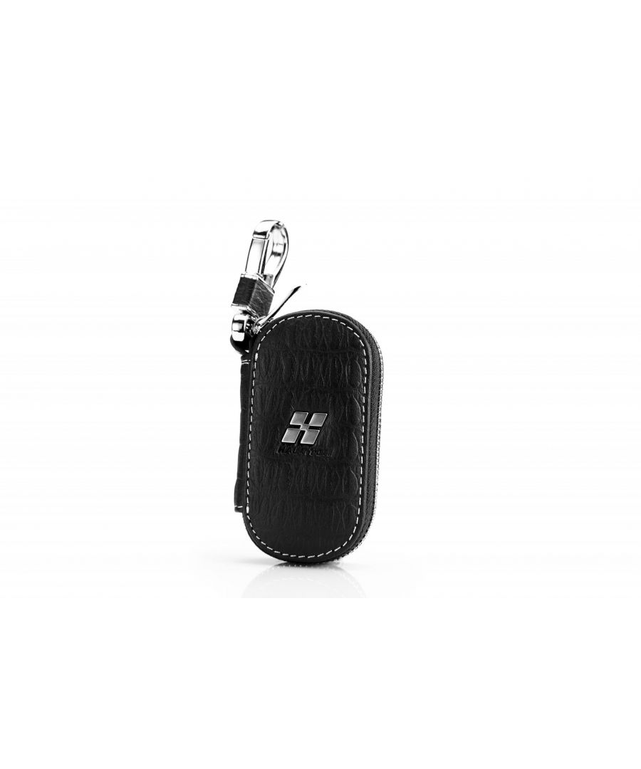Image for Hautton Leather Black Plain With White Stitch Contrast Zip Around Key Case 4.0