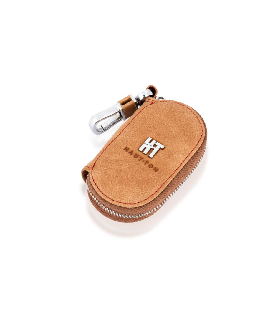 Image for Hautton Leather Tan With Red Stitch Contrast Zip Around Key Case 4.0