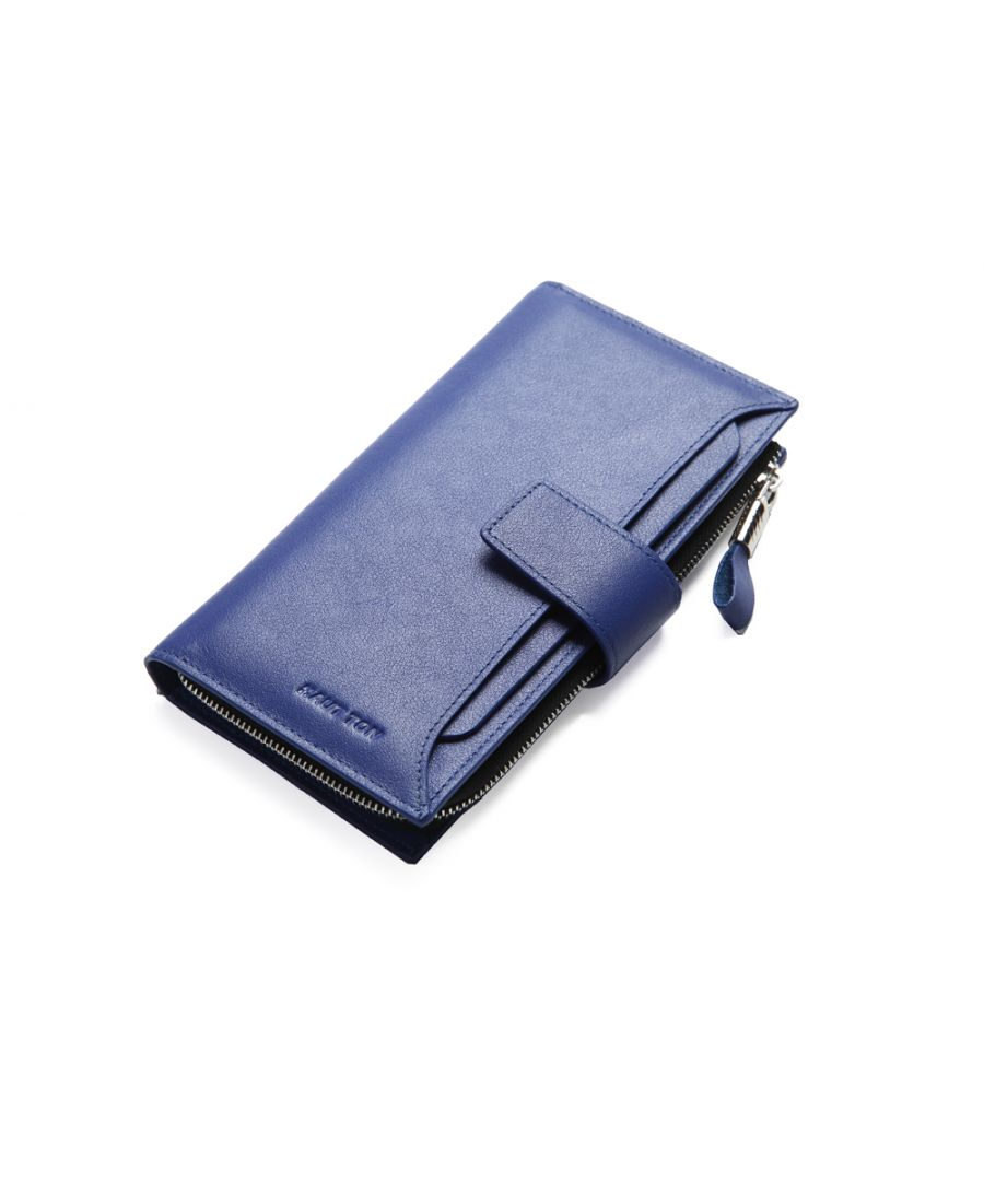Image for Hautton Leather Blue Clutch Wallet With Pull Out Sleeve. 11 credit Card Slots, ID Slot, 2 Micro SD Slots, Central Zip Compartment. Sleeve 3 credit Cards, ID Pouch