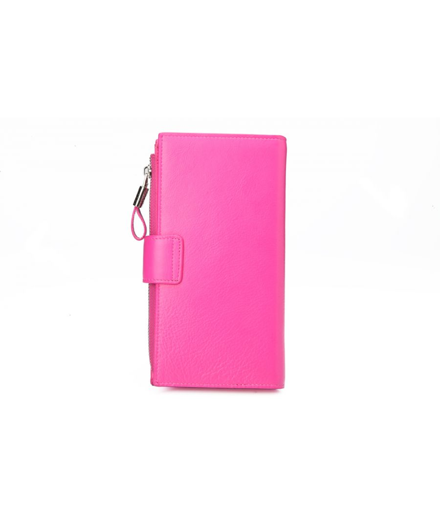 Image for Hautton Leather Pink Clutch Wallet With Pull Out Sleeve. 11 credit Card Slots, ID Slot, 2 Micro SD Slots, Central Zip Compartment. Sleeve 3 credit Cards, ID Pouch