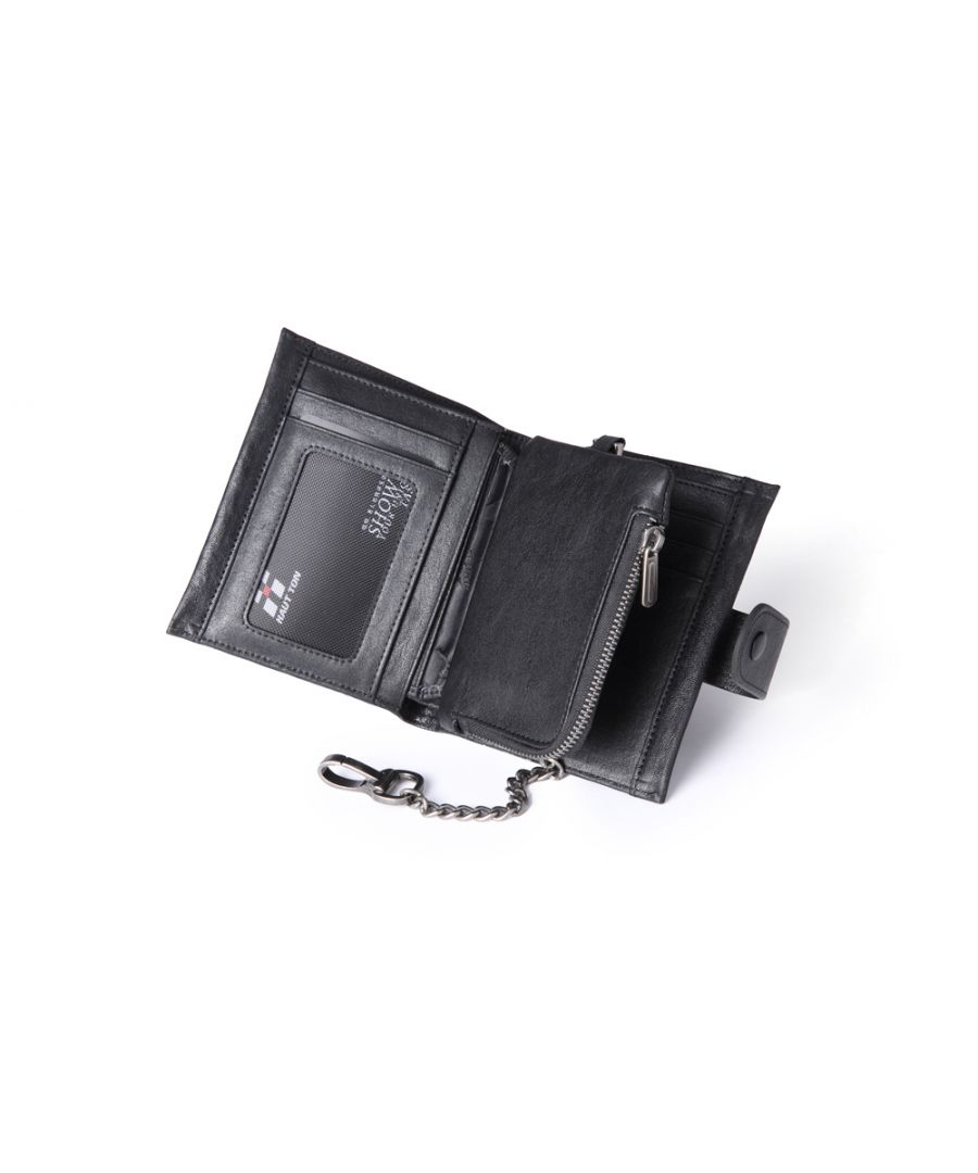 Image for Hautton Leather Black Wallet 8 credit Card Slots, Zip Coin Pocket, Fixed Chain Interlock Hook, ID Pouch & Central Notes Compartment