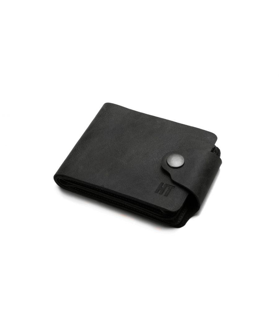 Image for Hautton Elegant Black Leather 11 Credit Card Wallet Stud Flap