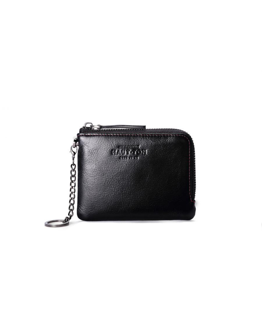 Image for Hautton Leather Black Zip Around Key Chain 4.5