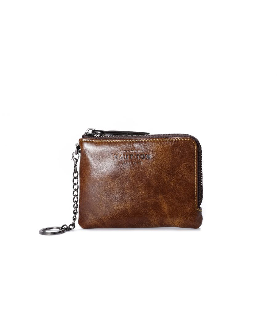Image for Hautton Leather Brown Zip Around Key Chain 4.5