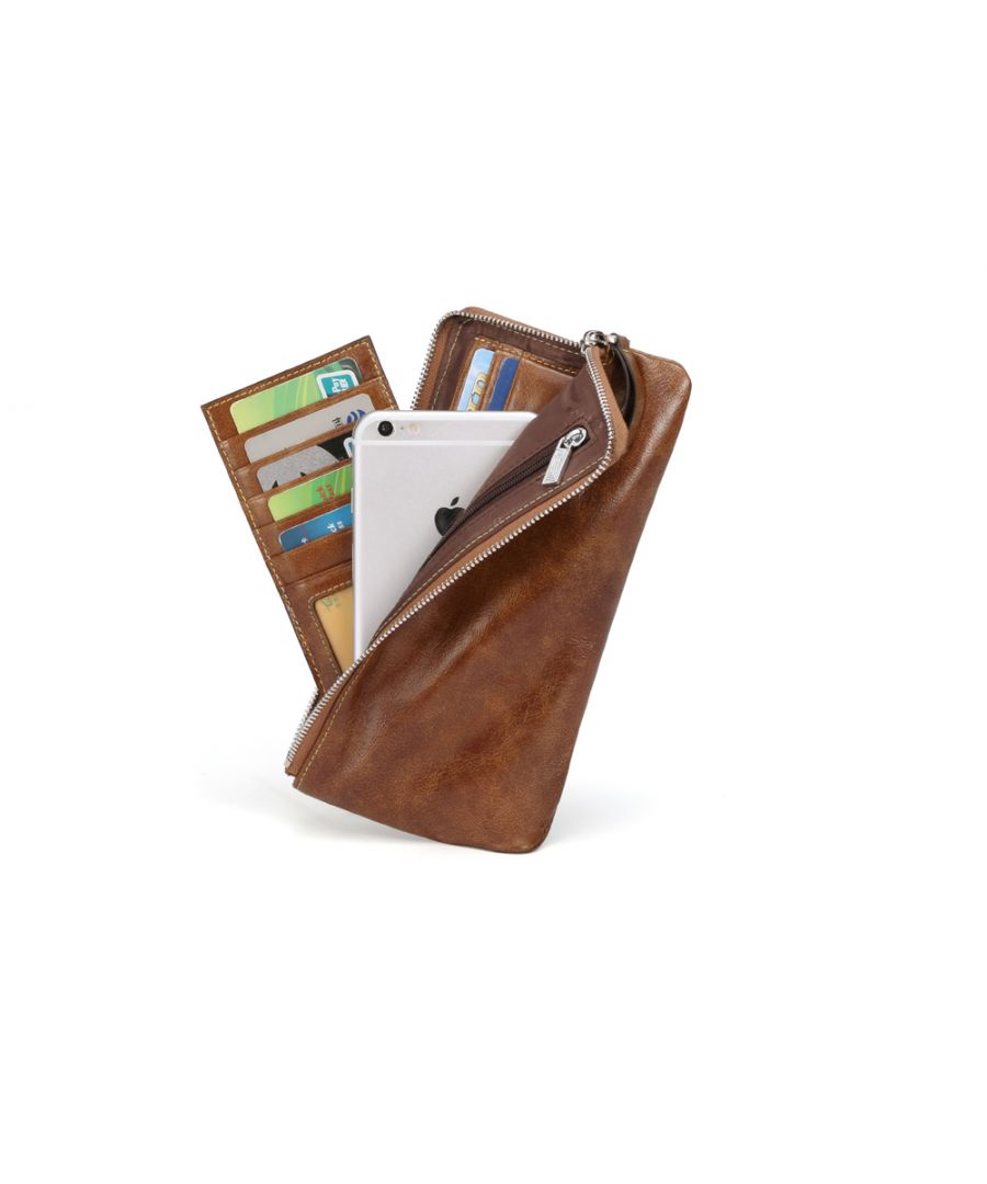 Image for Hautton Leather Tan Clutch Style Wallet 8.5