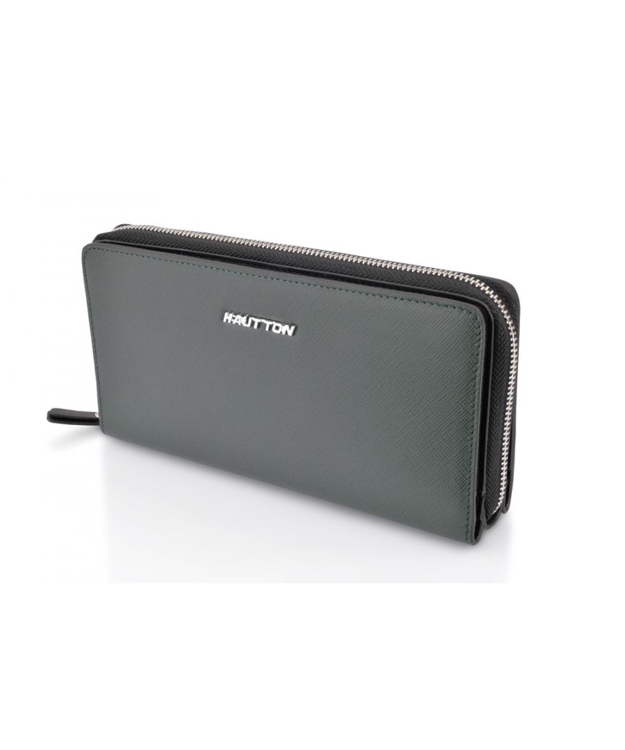 Image for Hautton Leather Grey Clutch Style Wallet 7.5