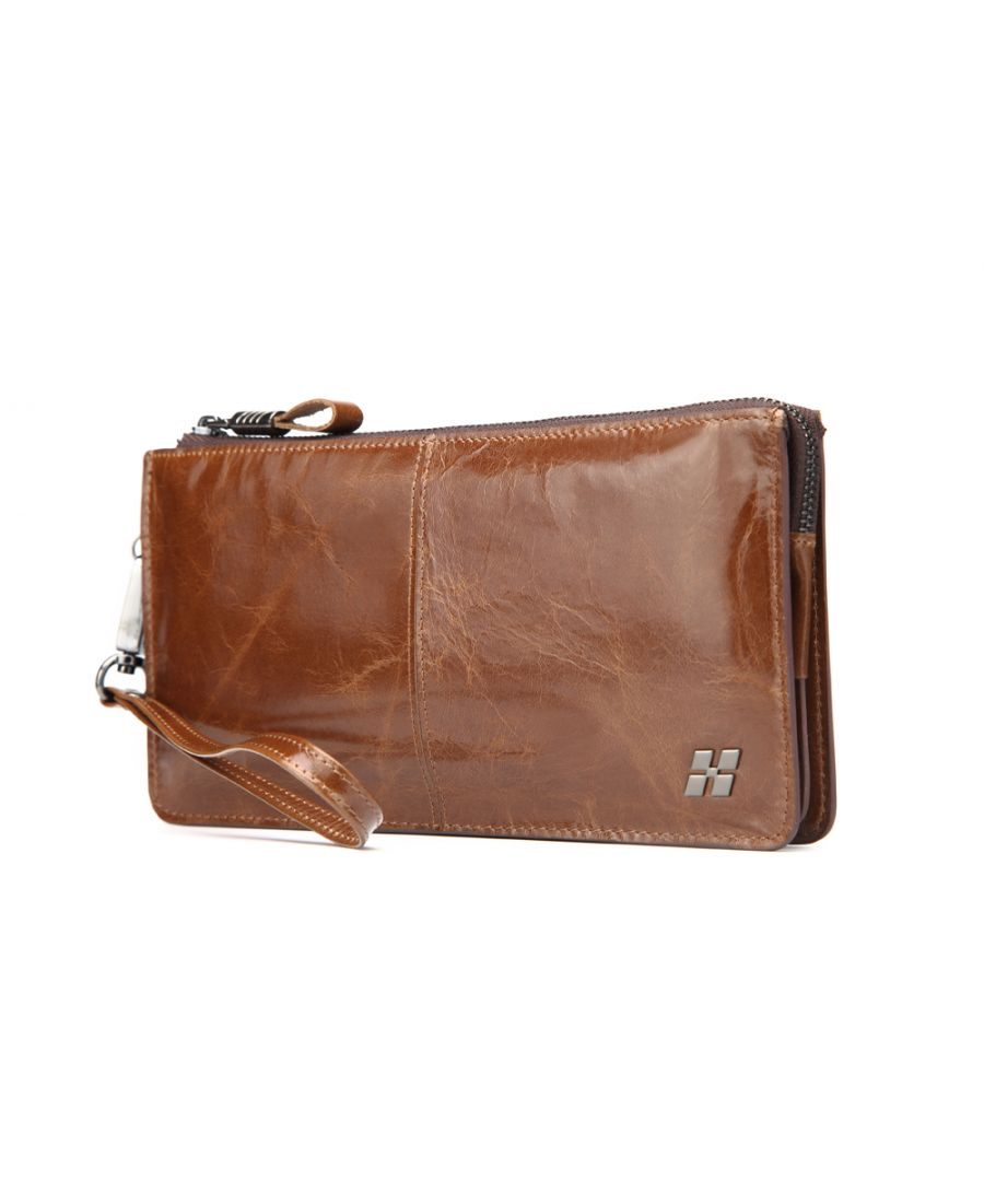 Image for Hautton Leather Brown Wrist Bag 8.0