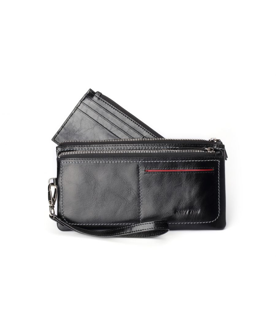 Image for Hautton Leather Black Clutch Style Wallet 8.5