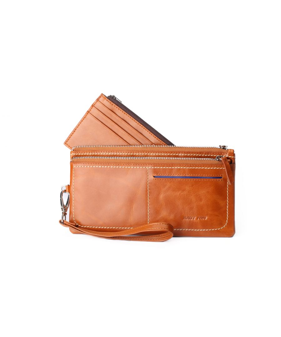 Image for Hautton Leather Tan Clutch Style Wallet *.5
