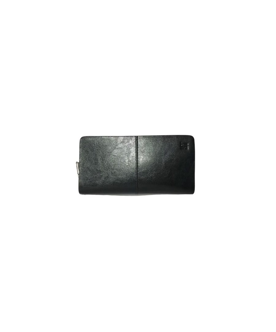 Image for Genuine Black Leather Clutch Wallet With 12 Credit Card Slots