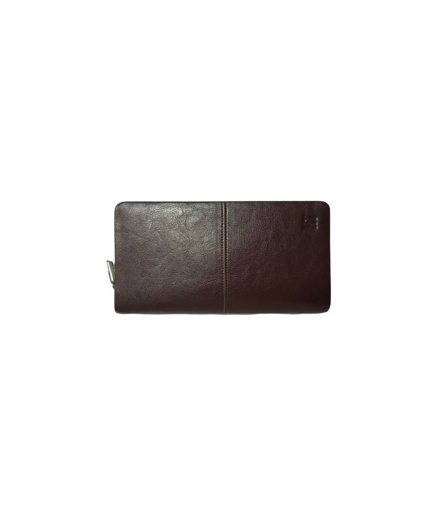 Image for Genuine Brown Leather Clutch Wallet With 12 Credit Card Slots