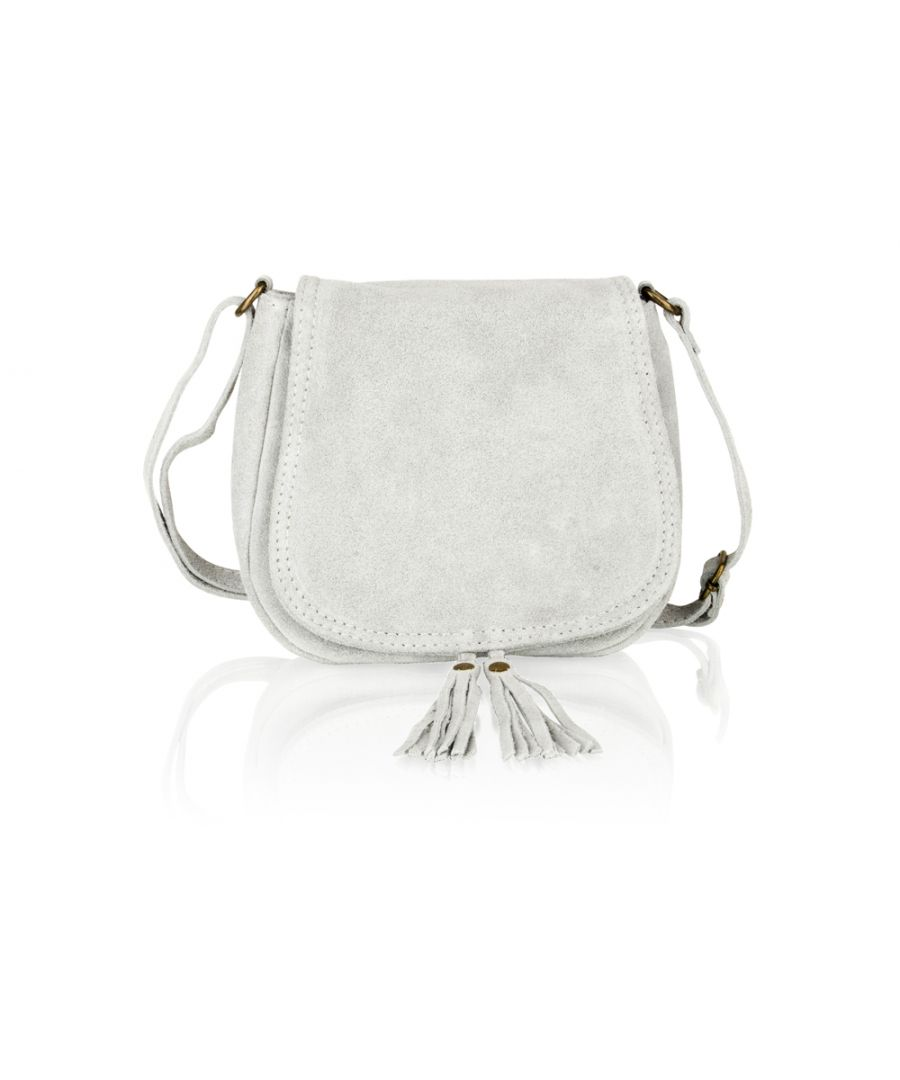 Image for Woodland Leather Light Grey Suede Small Flap Over 7.5