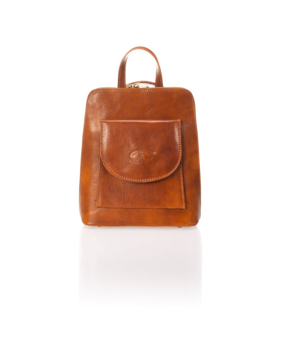 Image for Women's Classic Leather Backpack With front Pocket
