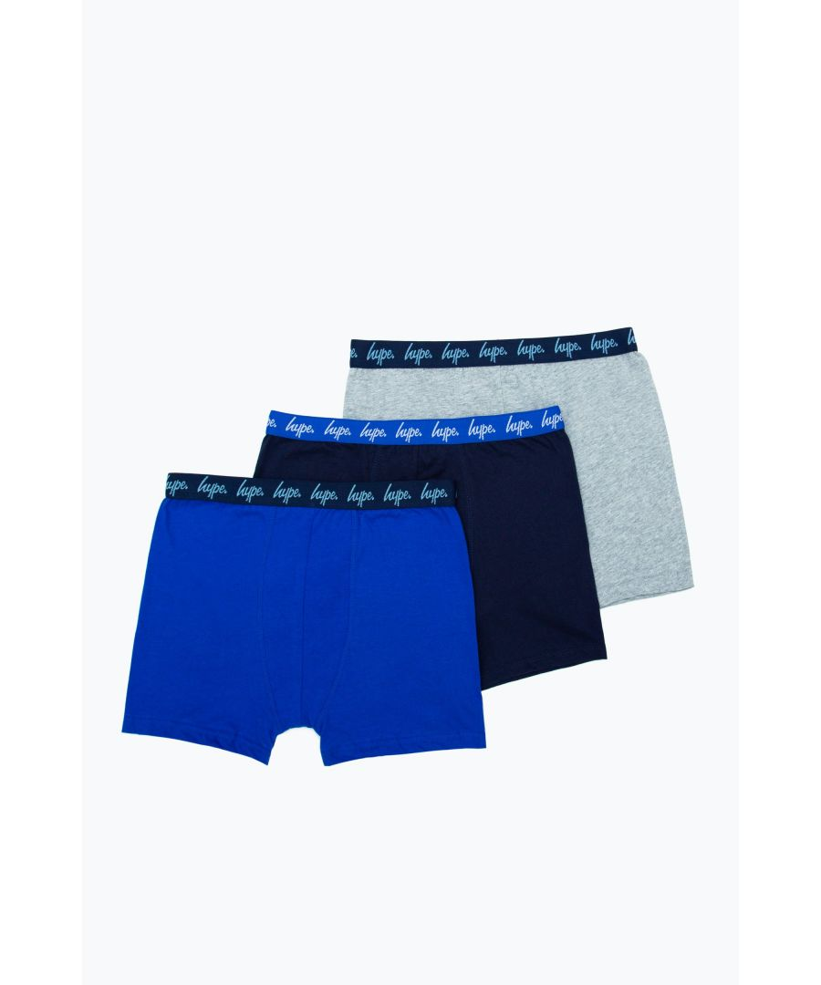 Image for Hype 3 Pack Blue & Navy Kids Boxer Shorts