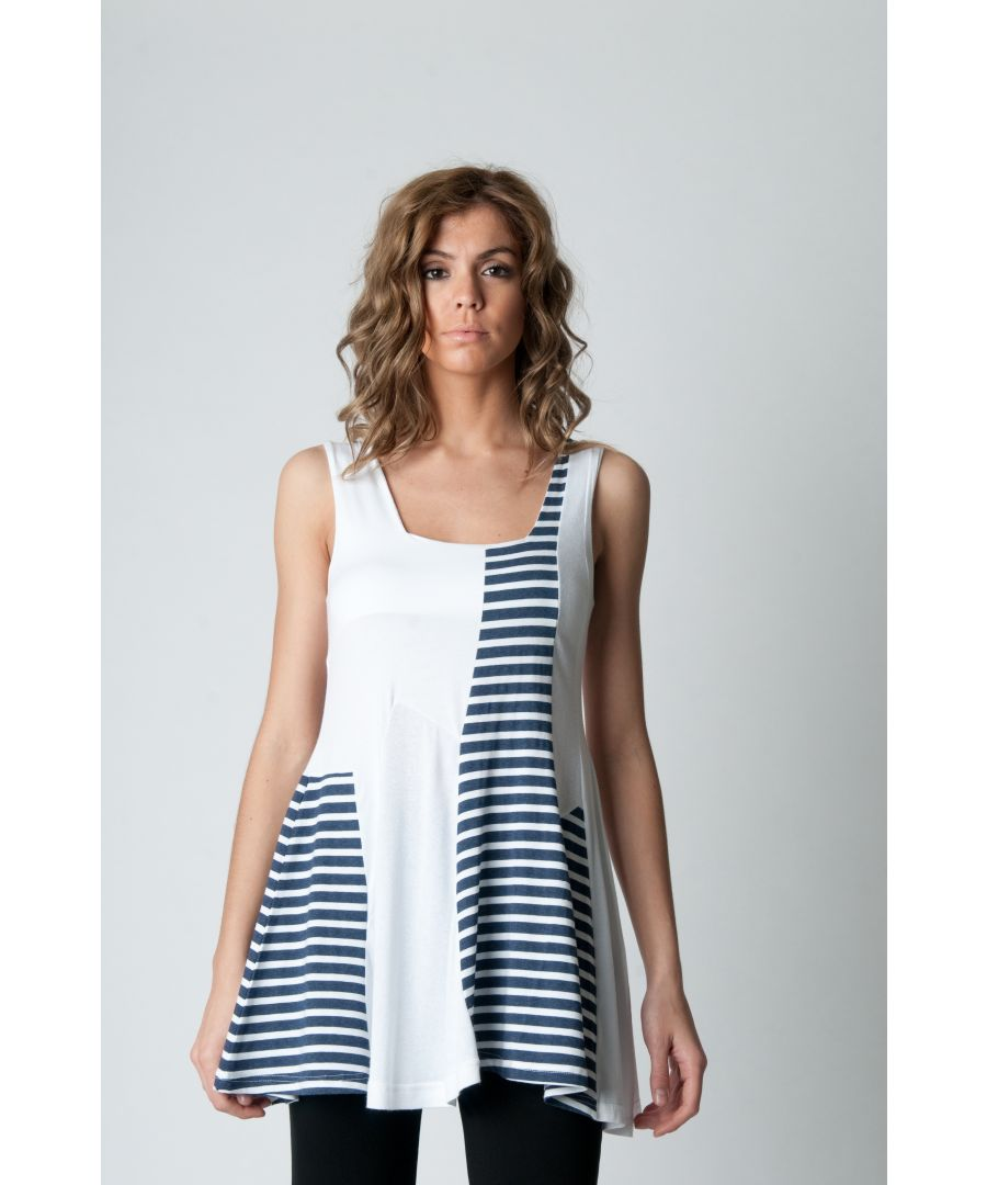 Image for Sleeveless Stripe Detail Tunic Navy