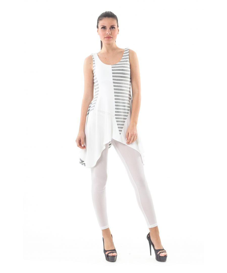 Image for Asymmetrical Stripe Detail Tunic grey