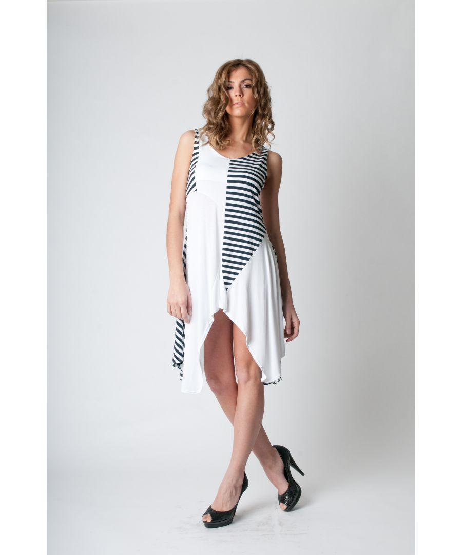 Image for Asymmetrical Stripe Detail Tunic navy
