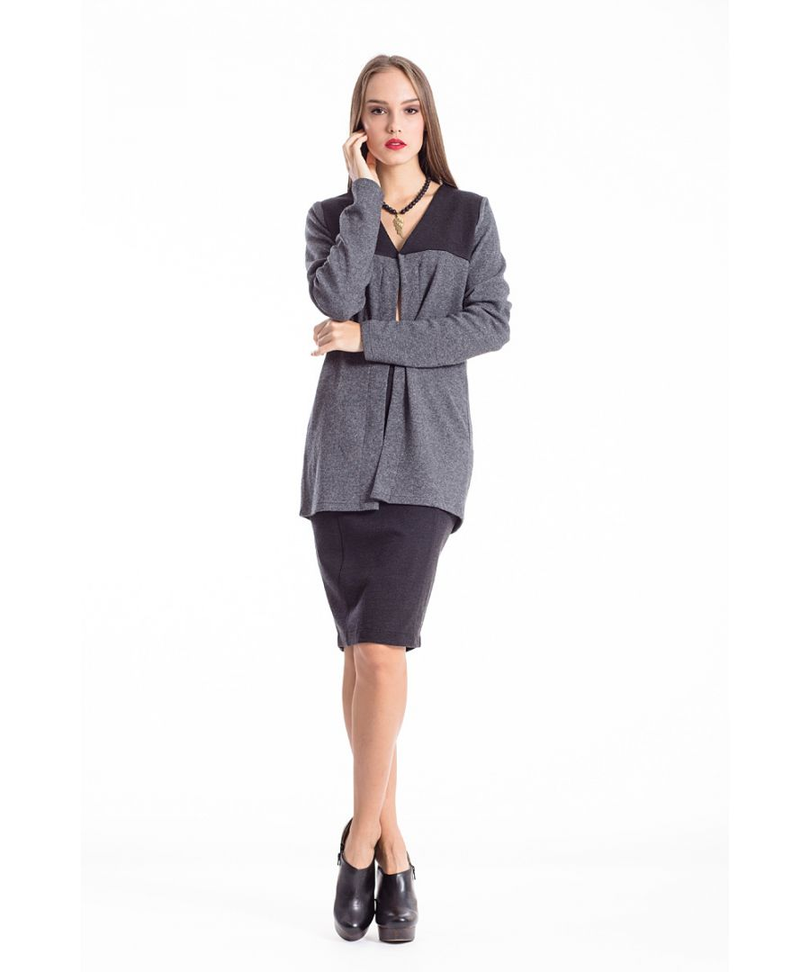 Image for Wool Blend Block Colour Cardigan anthracite