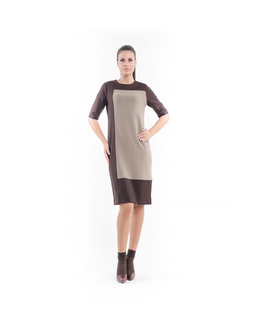 Image for Contrast Fabric Shift Dress camel