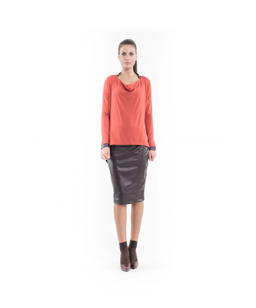Image for Faux Leather Detail Hi-Low Top