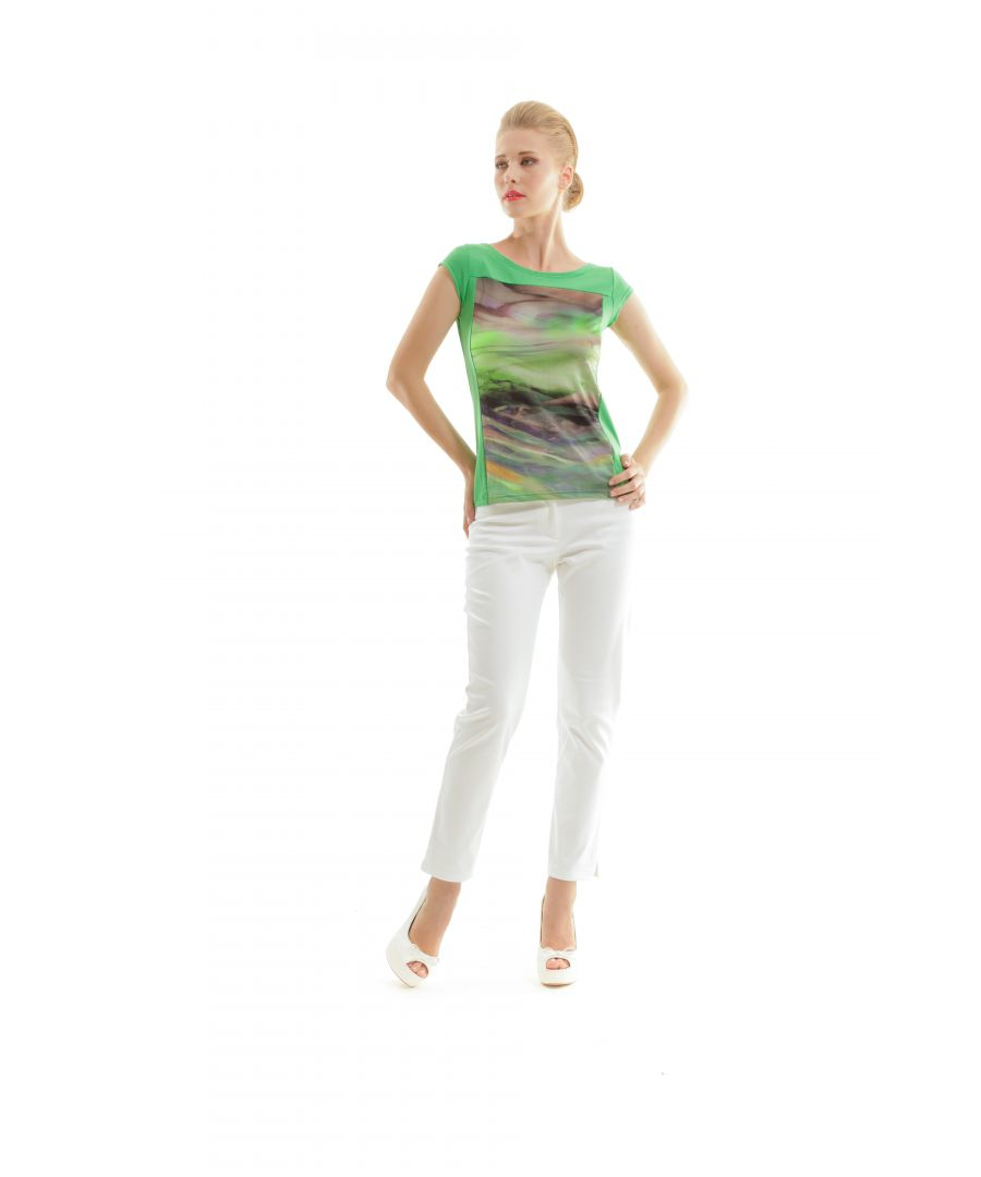 Image for Swirly Print Boat Neck Top