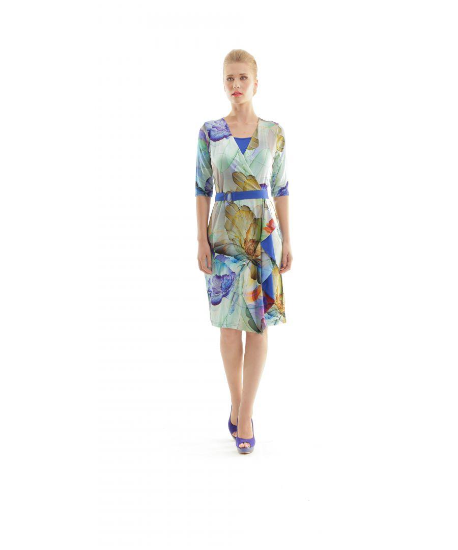 Image for Faux Wrap Print Dress