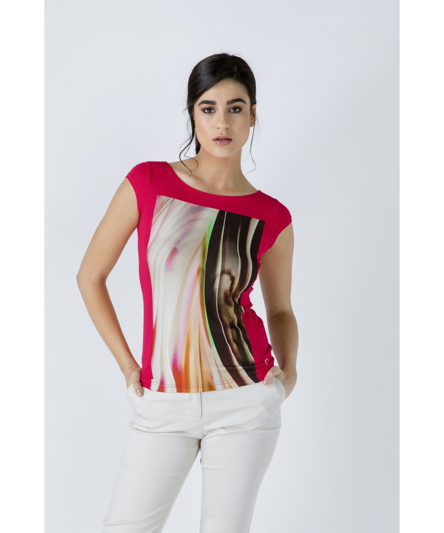Image for Red Print Detail Cap Sleeve Top