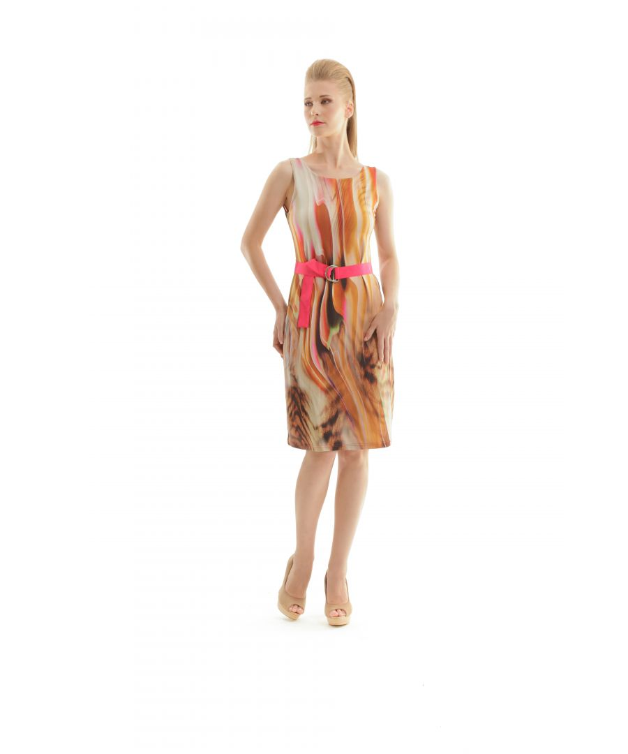 Image for Print Wrap Dress With Self Tie Waist