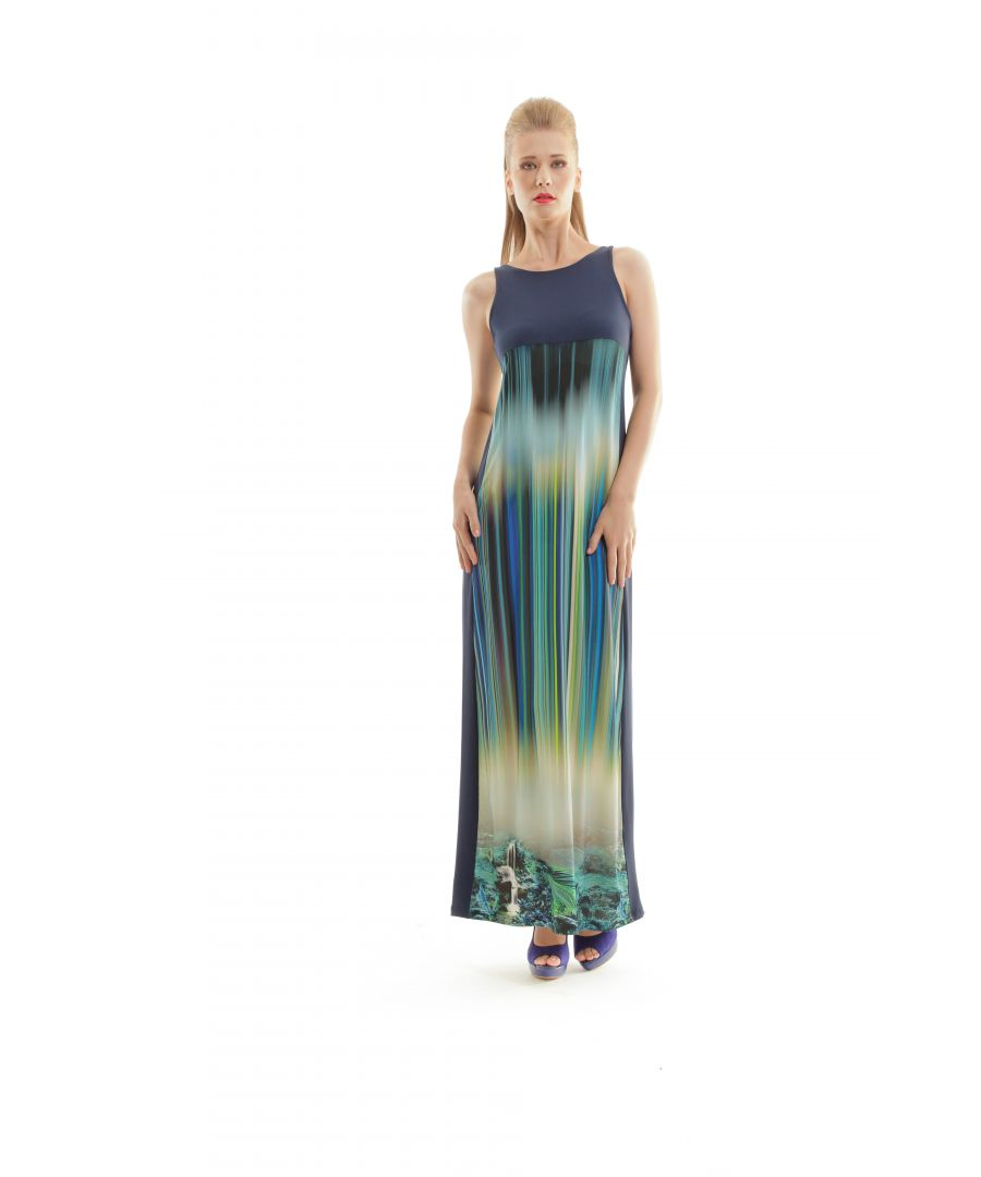 Image for Sleeveless Print Maxi Dress