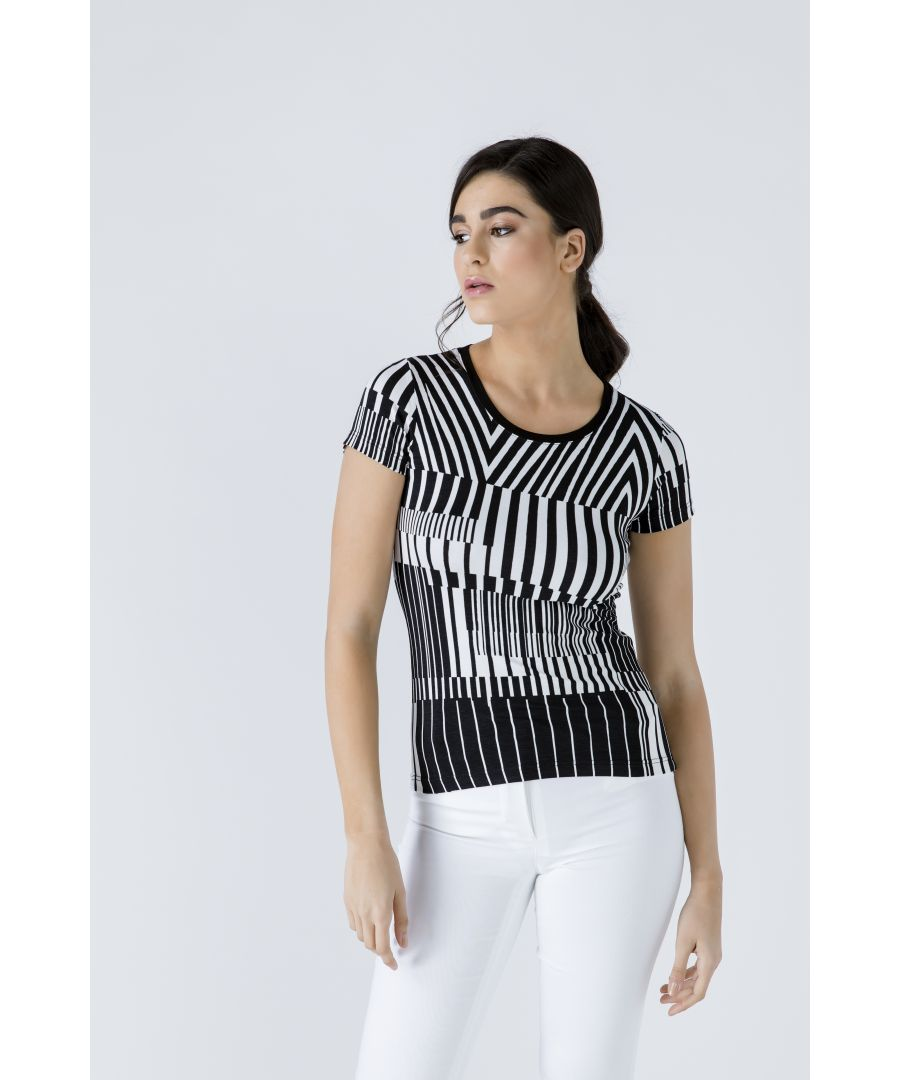 Image for Short Sleeve Black and White Top
