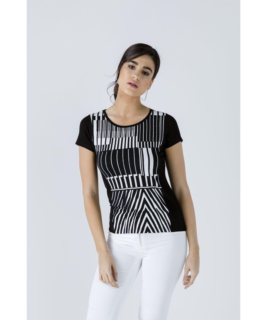 Image for Black Short Sleeve Print Detail Top
