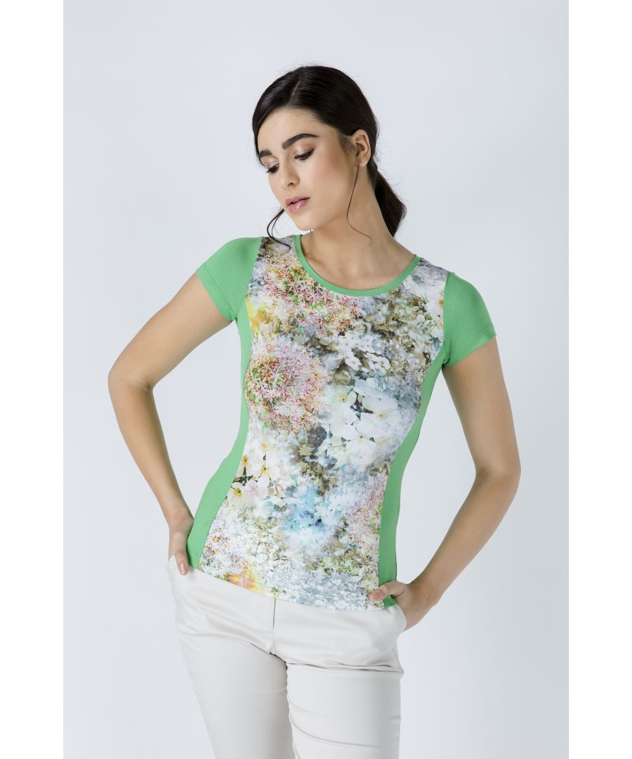 Image for Green Short Sleeve Floral Print Top
