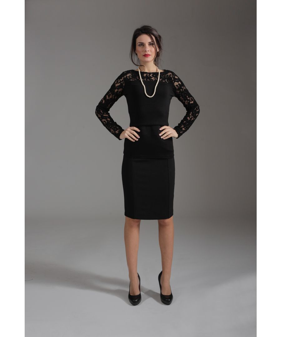 Image for Long Sleeve Straight Dress with Lace Detail
