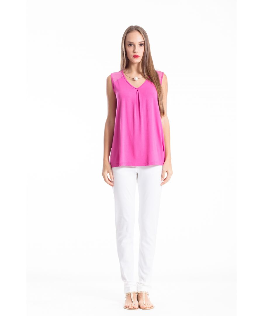 Image for V Neck Pleat Detail Top