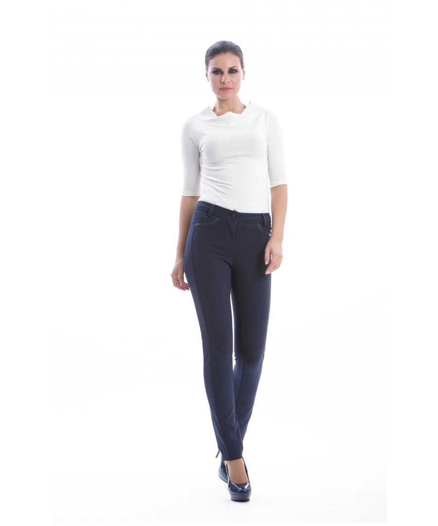 Image for Straight Trousers with Faux Leather Detail