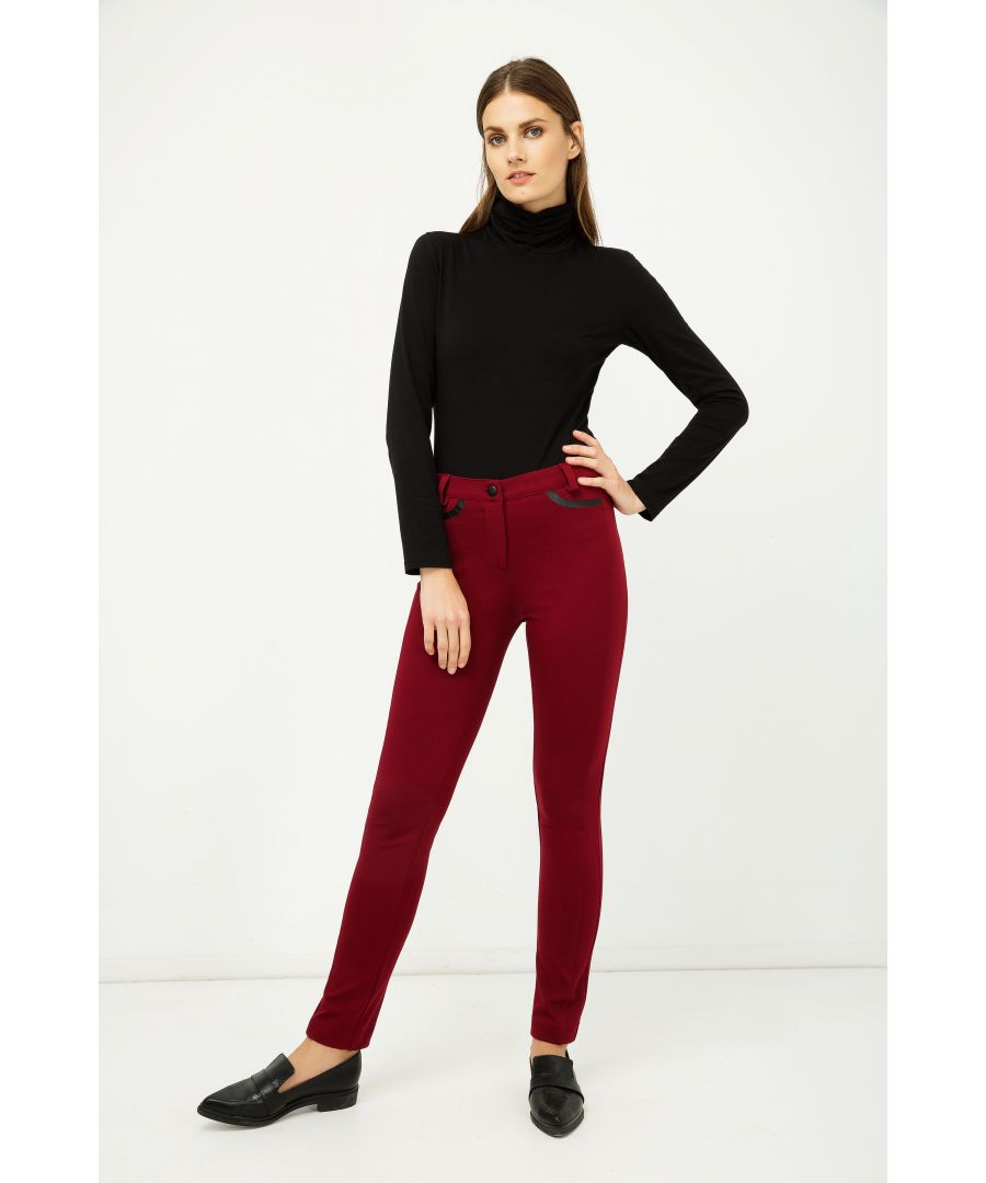 Image for Long Fitted Jeggings with Pleather Detail