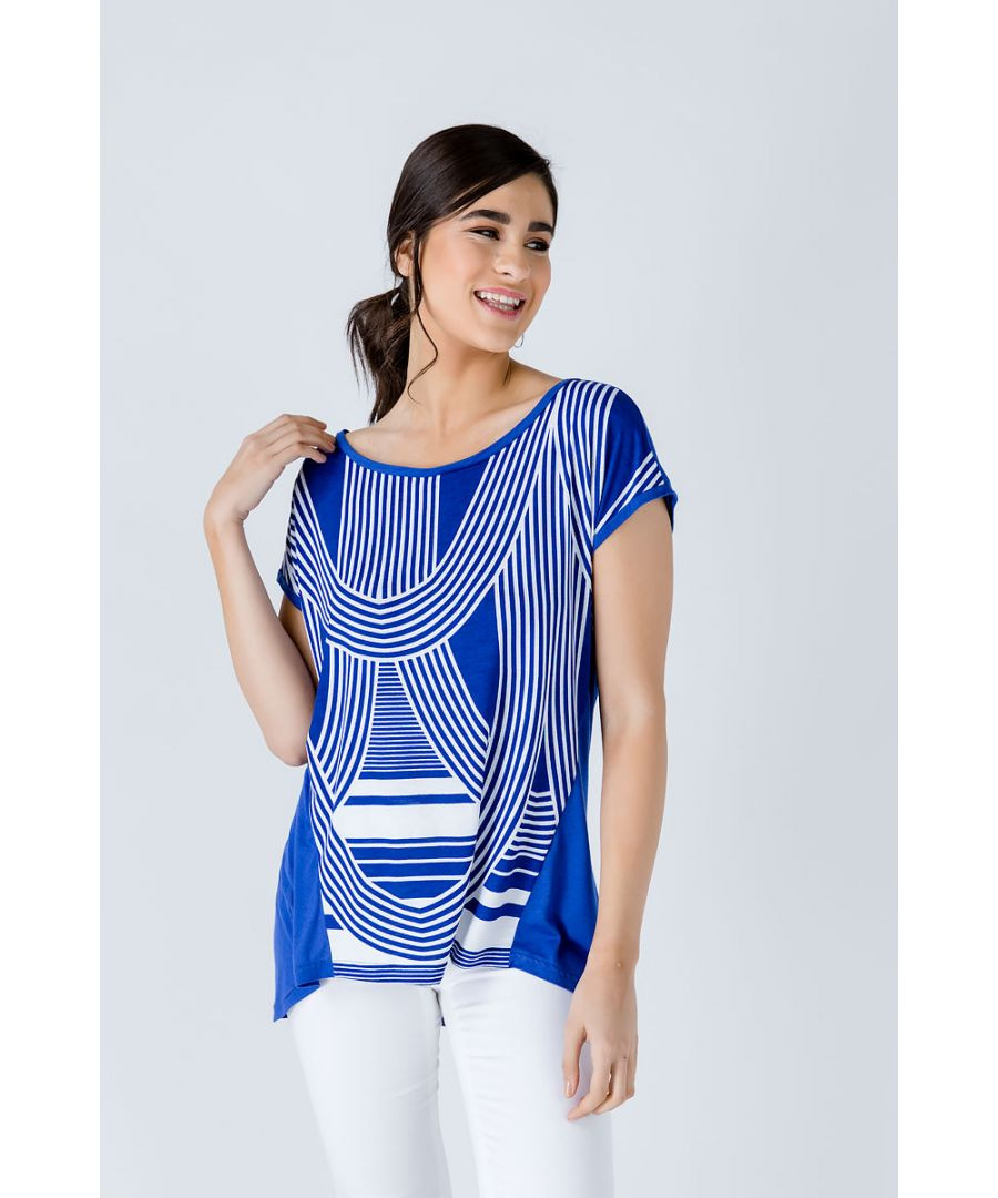 Image for Print Top with Rounded Hemline