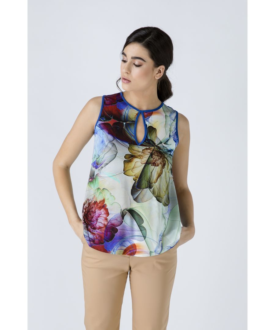 Image for Royal Blue Keyhole Detail Print Top